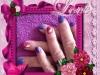 vernis permanent cerise et violet pailleté, water decal