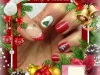 Vernis permanent rouge grenat, french blanche, paillettes et water decal noel