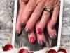 Rallongement chablon gel, vernis permanent gris pailleté, rouge et petit dessin