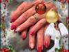 vernis permanent rouge grenat, paillettes dorées, petit dessin