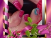 Vernis permanent pailleté passion, bleu nacré, water decal et rallongement résine chablon sur certains ongles